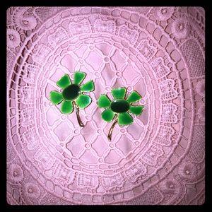 Vintage flower pins or brooch. Two green flowers.